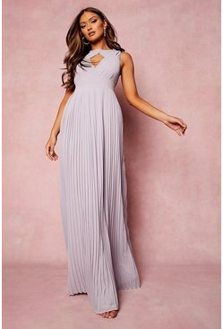 Lilac purple Pleated Cut Out Maxi Bridesmaids Dress