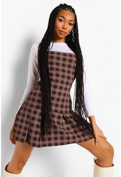 Brown Check Slip Dress With Long Sleeve Cotton Tee
