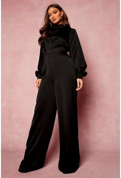 Black High Neck Balloon Sleeve Jumpsuit