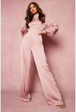 Rose pink High Neck Balloon Sleeve Jumpsuit