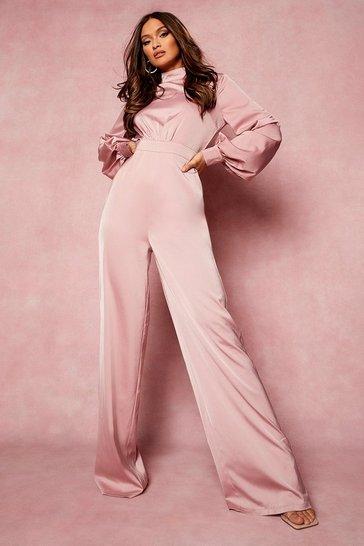 Rose pink High Neck Balloon Sleeve Jumpsuit