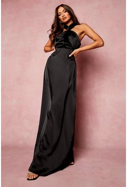 Black Satin Halterneck Twist Maxi Bridesmaid Dress