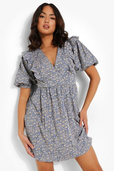 Blue Puff Sleeve Floral Print Cotton Mini Dress