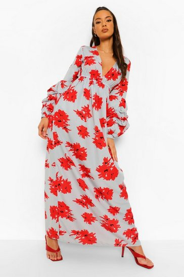 Blue Floral Ruched Sleeve Plunge Maxi Dress