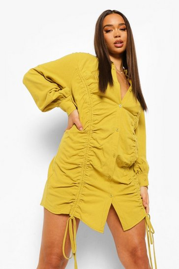 Chartreuse yellow Rouched Linen Shirt Dress