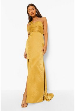 Chartreuse yellow One Shoulder Split Maxi Bridesmaid Dress