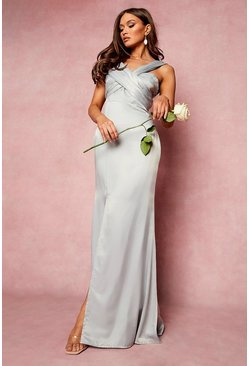 Grey One Shoulder Split Maxi Bridesmaid Dress