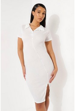Ecru white Short Sleeve Button Through Midi Shirt Dress