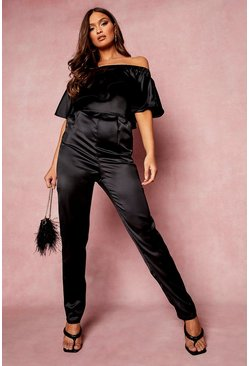 Black Ruffle Off The Shoulder Skinny Leg Jumpsuit