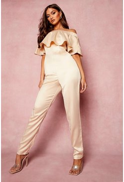 Champagne beige Ruffle Off The Shoulder Skinny Leg Jumpsuit