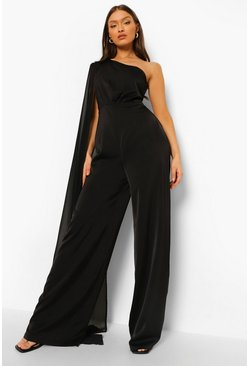 Black One Shoulder Cape Jumpsuit