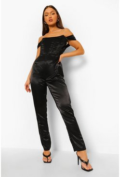 Black svart Off shoulder-jumpsuit med korsettdetaljer