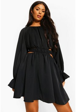 Black Cut Out Baloon Sleeve Skater Dress
