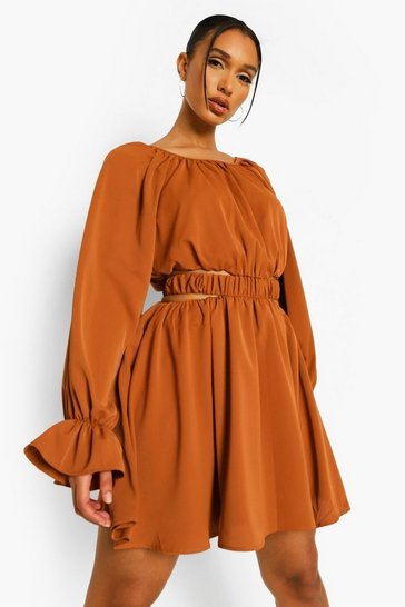 Rust orange Cut Out Baloon Sleeve Skater Dress