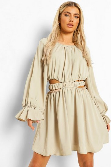 Stone beige Cut Out Baloon Sleeve Skater Dress