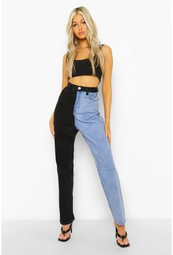 Blue Tall Colour Block High Rise Straight Leg Jean