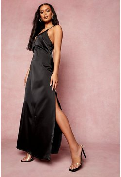 Black Satin Plunge Strappy Back Bridesmaid Dress