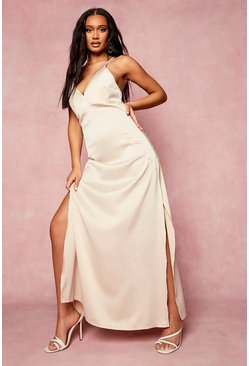 Champagne beige Satin Plunge Strappy Back Bridesmaid Dress