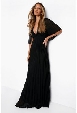 Black Pleated Cape Detail Bridesmaid Maxi Dress