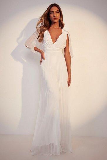 Ivory white Pleated Cape Detail Bridesmaid Maxi Dress