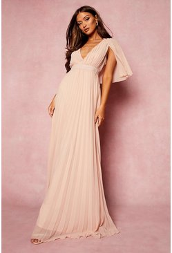 Rose pink Pleated Cape Detail Bridesmaid Maxi Dress