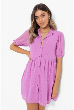 Dobby Mesh Button Down Shirt Dress, Lilac Фиолетовый