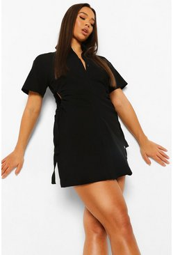 Black Linen Cut Out Rouched Shirt Dress