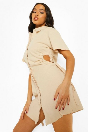 Sand beige Linen Cut Out Rouched Shirt Dress