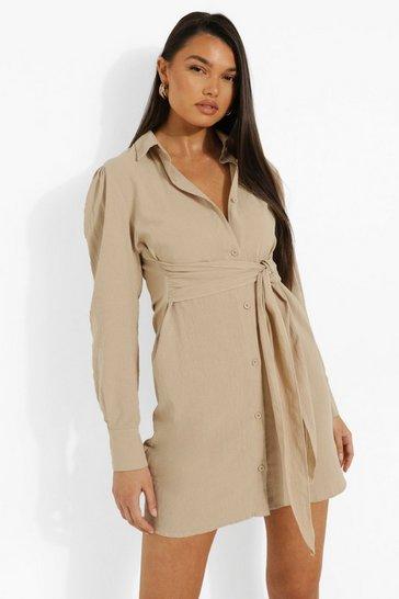Stone beige Linen Tie Front Shirt Dress