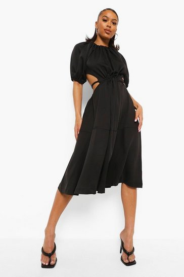 Black Puff Sleeve Gathered Waist Midi Dress