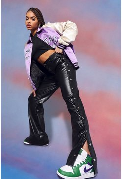Popper Leather Look Pu Straight Leg Trousers