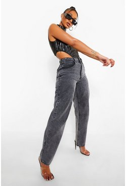 Grey High Waisted Acid Wash Boyfriend Jeans