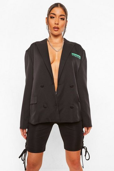 Black Oversized Contrast Pocket Tailored Blazer