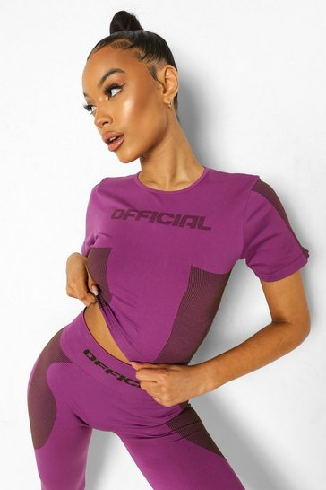 Purple Ofcl Seamfree Contour Active Tee