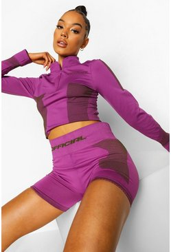 Purple Ofcl Seamfree Contour Half Zip Top