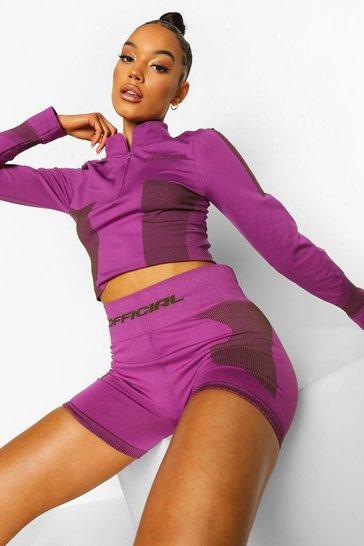 Purple Ofcl Seamfree Contour Half Zip Top