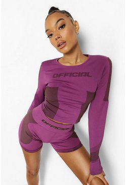 Purple Ofcl Seamfree Contour Gym Top