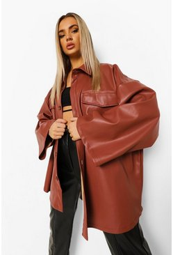 Rose pink Oversized Wide Sleeve Faux Leather Shacket