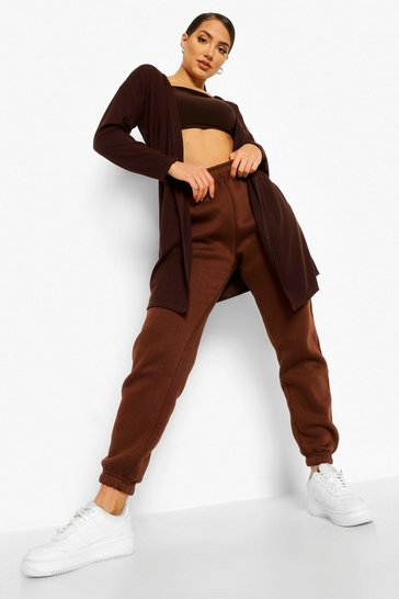 Chocolate brown Belted Soft Rib Kimono