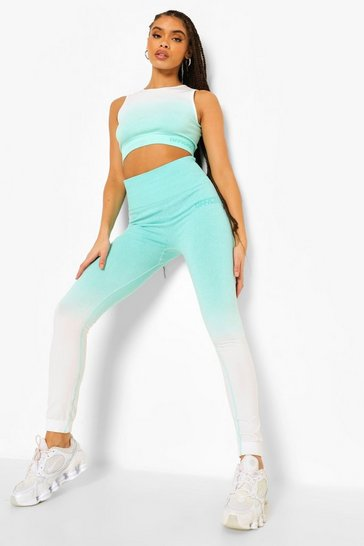 Aqua blue Ofcl Ombre Seamfree Leggings