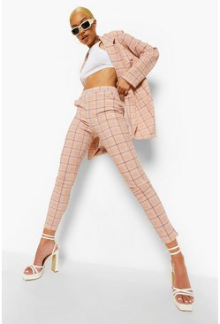 Sand beige Mini Dogtooth Skinny Trousers