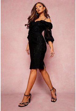 Black Lace Ruffle Midi Bridesmaids Dress