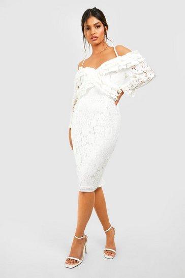 White Lace Ruffle Midi Bridesmaids Dress