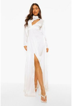 White Cut Out Extreme Split Maxi Dress