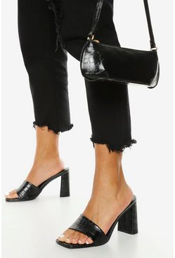 Black Wide Fit Croc Block Heel Mule