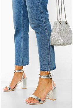 Silver Wide Fit Metallic 2 Part Block Heels