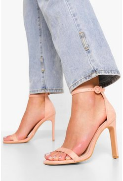 Blush pink Wide Fit Round Buckle 2 Part Sandal