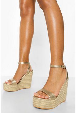 Gold metallic Metallic Barely There High Wedge