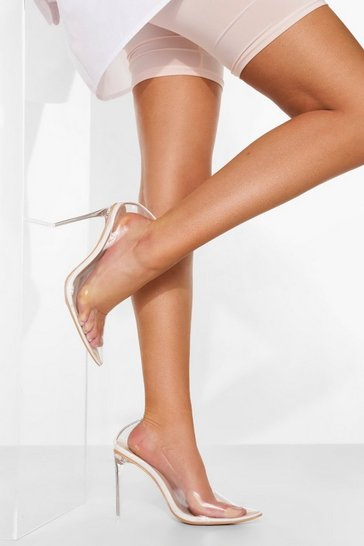 White Wide Fit Clear Heel Court Shoe