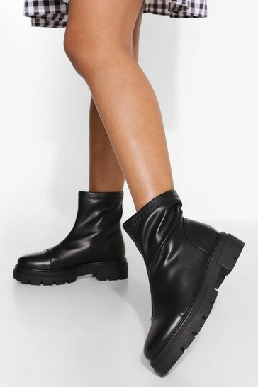 Black Wide Fit Chunky Sole Sock Boots